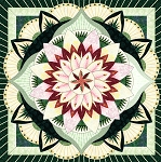 Quilt Kit for Dinner Plate Dahlia by Judy Niemeyer / Quiltworx   in Emerald & Wallflowers