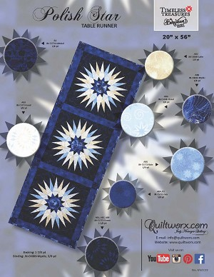 "Quilt Kit for Polish Star Table Runner 20"" x 56"" in Bohemian Blues or your preferred colors"